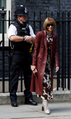 Editor-in-chief of Vogue, Anna Wintour, arrives in Downing Street for a reception that is  part of British Fashion Week, in London
