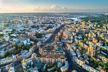 Aerial view of Besarabka and Khreshchatyk, the main street of Kiev