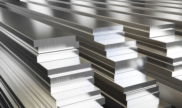 Warehouse of aluminum plates. Rolled metal products. 3d illustration.