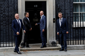 GQ editor, Dylan Jones, arrives in Downing Street for a reception that is part of British Fashion Week, in London