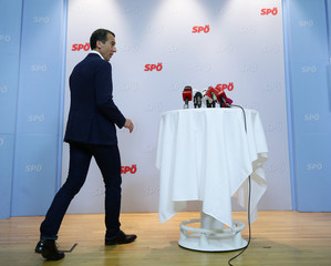 Head of the Social Democratic Party SPOe Kern arrives for a media statement in Vienna