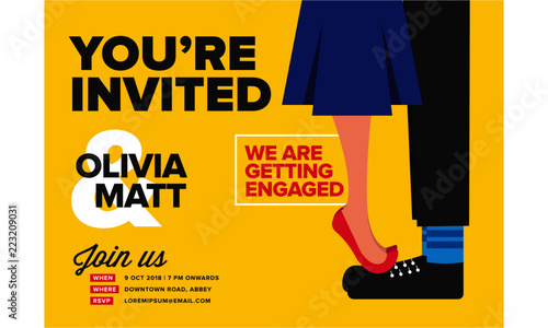 You Are Invited Concept Engagement Invitation Design Template