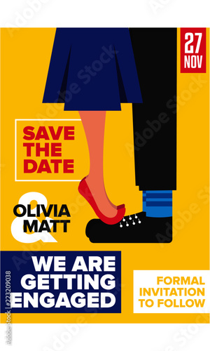 Save The Date Concept Engagement Invitation Design Template