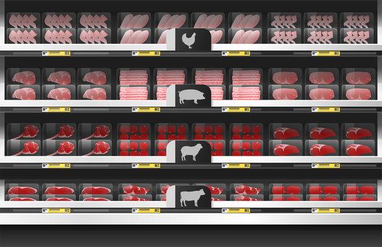 Fresh meat for sale display on shelf in supermarket , vector , illustration