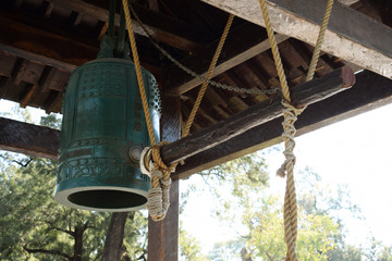 antique japanese bell in the park