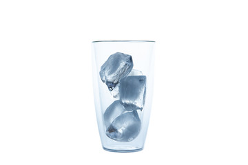 Cubes of ice in the double glass close up.  isolated on white background.