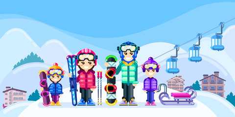 Happy family at winter ski resort, vector flat style illustration. Weekend travel in mountains, leisure outdoor concept