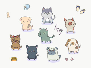 Dogs (Yorkshire terrier, Husky, stray dog, pug, beagle )cartoon/doodle illustration