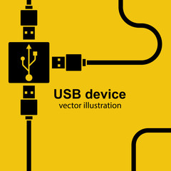 USB cable are connected to hub. USB wires in minimal design a black line isolated on a yellow background. Network cord for phone, charging and other devices. Vector illustration flat style.