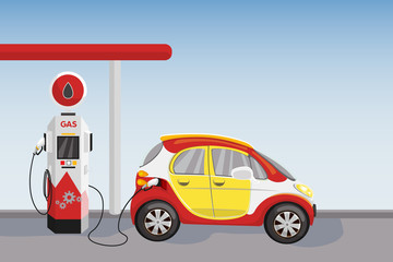 Red car at petrol and gasoline fuel station. Vector cartoon illustration