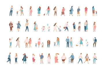 Crowd. Different People vector set3. Male and female flat characters isolated on white background. Wall mural