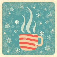 Vintage card. Steaming Cup. Snowflakes background. Grunge texture. Ivory elements, muted green background, frame