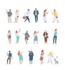 Crowd. Different People vector set3. Male and female flat characters isolated on white background.