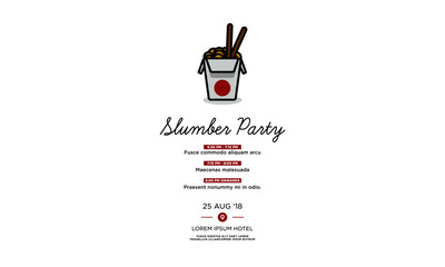 Slumber Party Invitation with Chinese Takeout Box Date Time and Venue Details