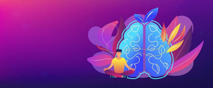 Calmness and releasing stress concept header banner.