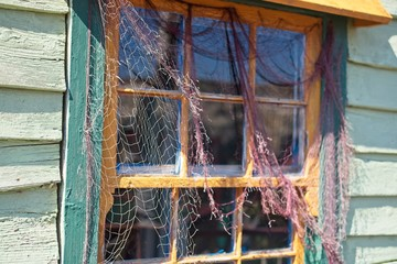 Fishing wooden house with Nautical Netting Close Up