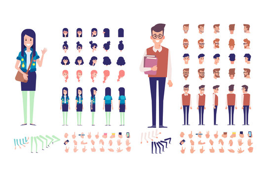 Front, side, back, 3/4 view animated characters. Boy and girl students characters creation set with various views, hairstyles, poses and gestures.Cartoon style, flat vector illustration.