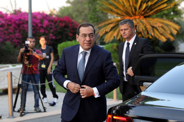 Tarek El Molla, Egypt's Minister of Petroleum and Mineral Resources, arrives for a meeting at the Presidential Palace in Nicosia
