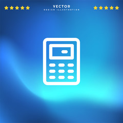 Premium Symbol of Calculator Related Vector Line Icon Isolated on Gradient Background. Modern simple flat symbol for web site design, logo, app, UI. Editable Stroke. Pixel Perfect.