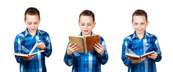 A set of portraits of a schoolboy isolated on a white background.