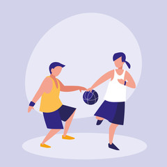 couple practicing basketball avatar character