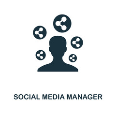 Social Media Manager icon. Monochrome style design from smm icon collection. UI. Pixel perfect simple pictogram social media manager icon. Web design, apps, software, print usage.