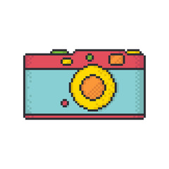 Retro camera pixel art style vector icon on white background.