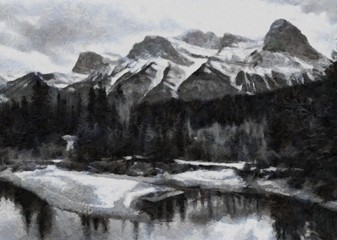 Oil painting. Art print for wall decor. Acrylic artwork. Big size poster. Watercolor drawing. Modern style fine art. Beautiful winter mountain landscape. Black and white.