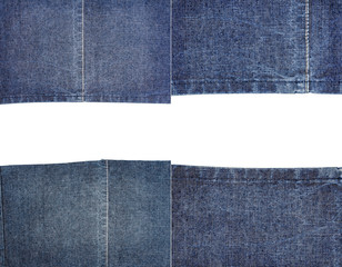 Collection of blue jeans fabric textures