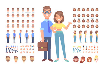 Front, side, back, 3/4 view animated characters. Man and woman creation set with various views, hairstyles and gestures. Cartoon style, flat vector illustration.