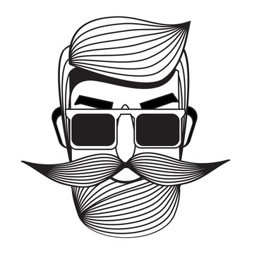 Male with moustache. Man face. printable badge, sticker in black and white graphic