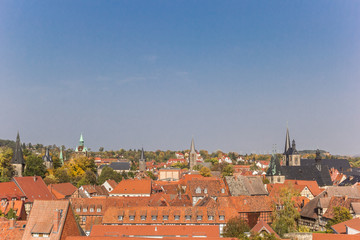 Wall Mural - Cityscape with several towers in Quedlinburg, Germany