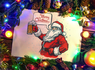 Illustration surrounded by a theme frame of Christmas objects Merry Santa Claus with a beer in hand and with a speech bubble.