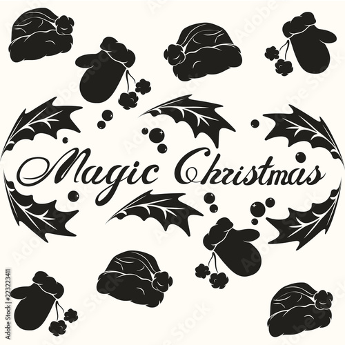 Magic Christmas phrase in frame. Hand drawn lettering phrase for ...