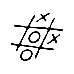 Hand drawn Tic-tac-toe doodle. Sketch Back to school, icon. Decoration element. Isolated on white background. Vector illustration