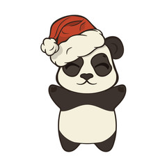 Cute Christmas cartoon panda bear character in Santa's hat with pompon vector image isolated on white. Funny bearcat Children's Xmas design. Merry Christmas and Happy New Year Greeting card image.