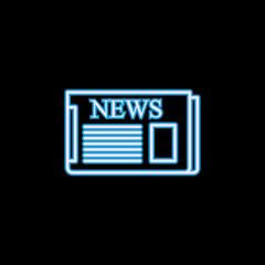 Newspaper icon in neon style. One of journalism collection icon can be used for UI, UX