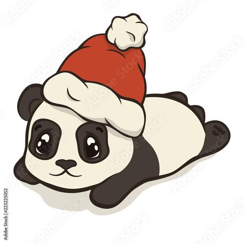 Cute Christmas.Cute Christmas Cartoon Panda Bear Character In Santa S Hat