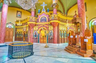 The interior of Saint George Orthodox Church in Cairo, Egypt