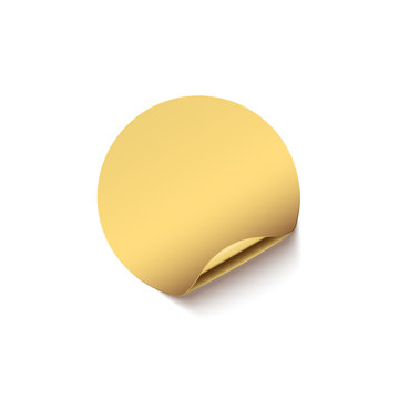 Golden sticker with curved edge isolated on white background. Vector design element.