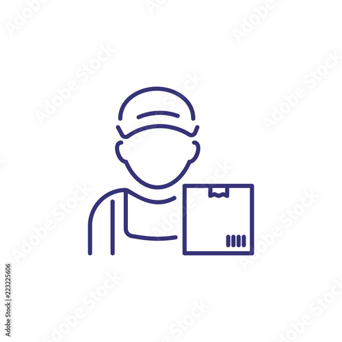 Courier line icon  Man in cap with parcel, box, package
