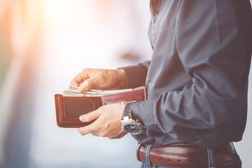 man hands holding wallet,empty wallet