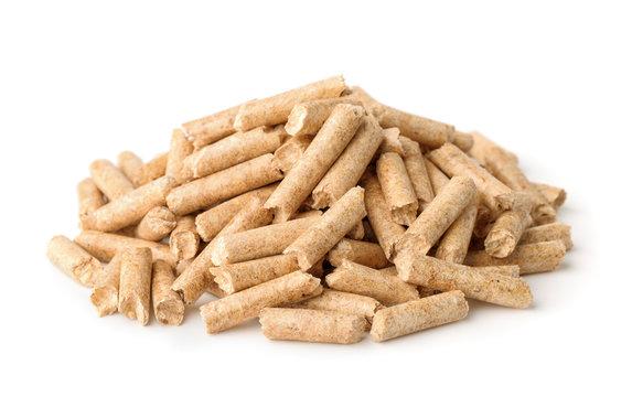 Heap of wood pellets