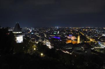 View of Graz, Austria, at night