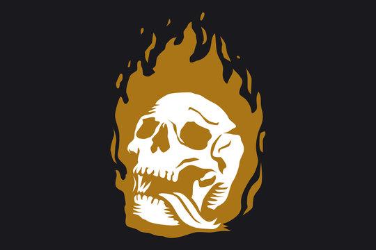 skull in burning flame