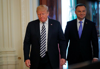 U.S. President Trump holds a joint news conference with Poland's President Duda at the White House in Washington