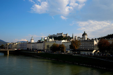 A general view shows the old town and the castle of Salzburg
