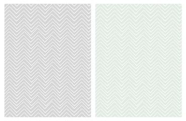 Set of Seamless Cute Chevron Patterns. White Zig Zag Shape a Gray ad Light Mint Green Background. Funny Irregular Design. Infantile Style