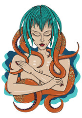 Octopus Woman Vector Color Artwork Illustration