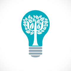 Psychology concept vector logo or icon created with Greek Psi symbol as a tree with leaves inside of idea light bulb, mental health concept, psychoanalysis analysis and psychotherapy therapy.